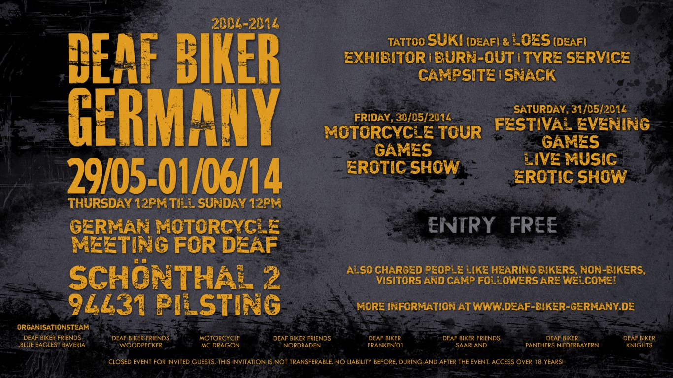 Deaf biker germany 2014 deaf biker germany also charged people like hearing bikers non bikers visitors and camp followers are welcome stopboris